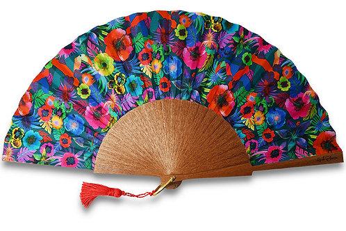 Tropica - éventail en bois de Sipo et motifs colorés