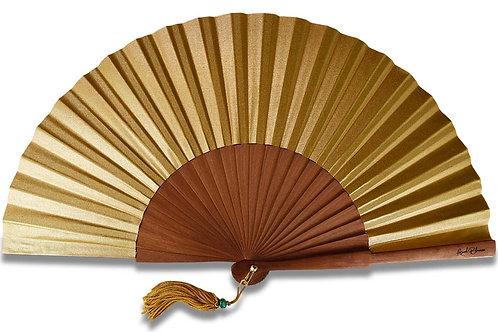 Oro - éventail en bois de poirier et toile dorée