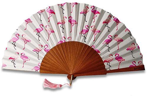 Flamenco - éventail en bois de Sipo et motif flamants roses