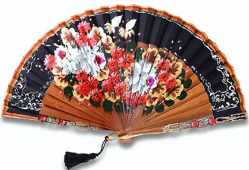 Florecita - éventail noir en bois de bubinga et motif floral