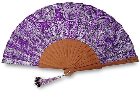 Brilla violet - éventail bois et tissu