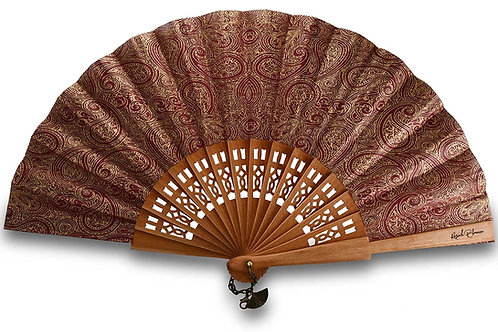 Irani bordeaux et doré - éventail en bois de poirier à motif Paisley