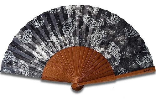 Paisleyo 3  - éventail gris noir  en bois de poirier - motif Paisley blan