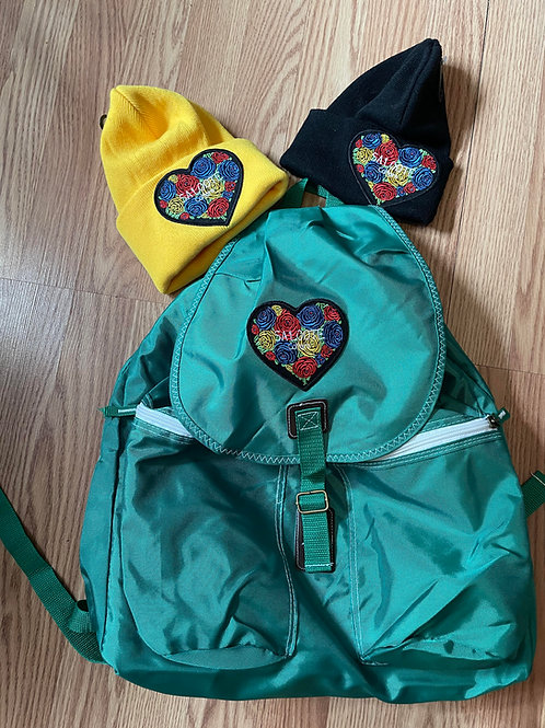 Backpack (Heart Design) & Beanie Caps