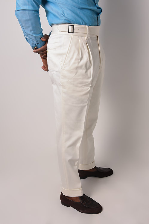 Cream Cotton Ghurka Pants