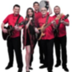 Die Musiker der Hochzeitsband und Partyband Cherry Pink mit ihren Instrumenten in der Hand für das Gruppenfoto.