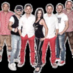 Die Musiker der Hochzeitsband und Partyband Best-of-Band stehen in eine Reihe nebeneinander.