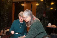 Artists Janet Kondziela and Gail Churchill at the reception