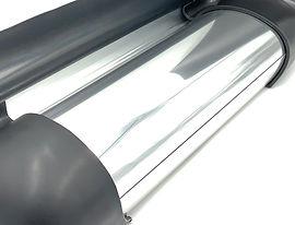 Excalibur Running Boards. Polished Silver Color Sample