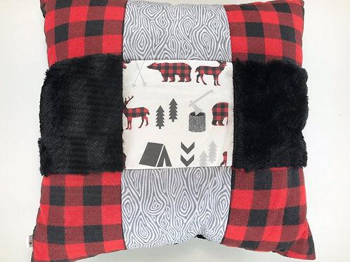 Chalet rustique bouleaux fourrure noire et dessous en minky noir