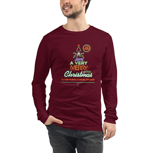 """Men Long Sleeve Tee """"LIVE BAND. Have a Merry Christmas"""""""