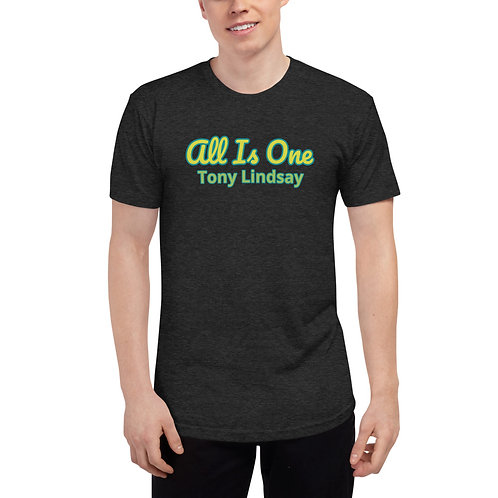 Men Tri-Blend Track Shirt  'All Is One' Tony Lindsay