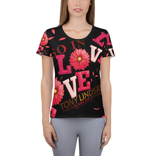 "Women's Athletic T-shirt  ""So In Love"" Tony Lindsay"
