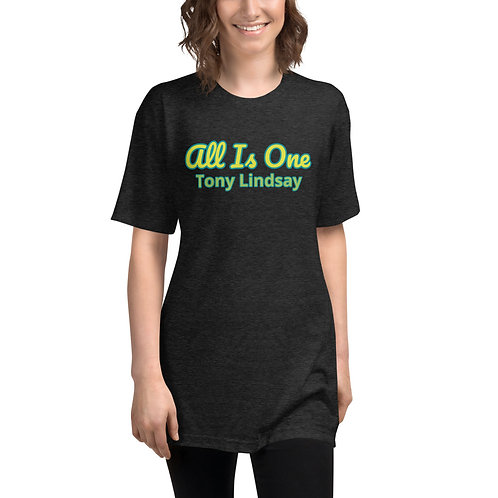Women Tri-Blend Track Shirt  'All Is One' Tony Lindsay