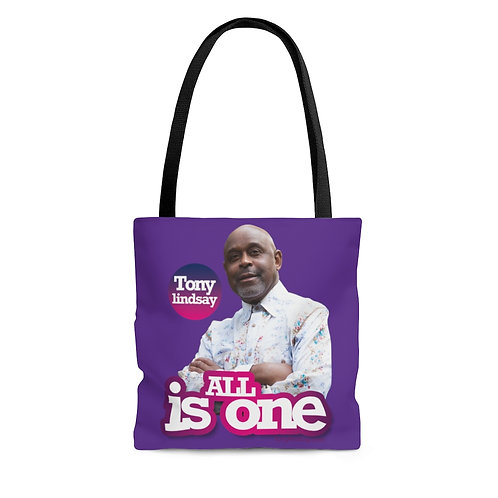 'All Is One Tony Lindsay' Purple burst Collection Tote Bag