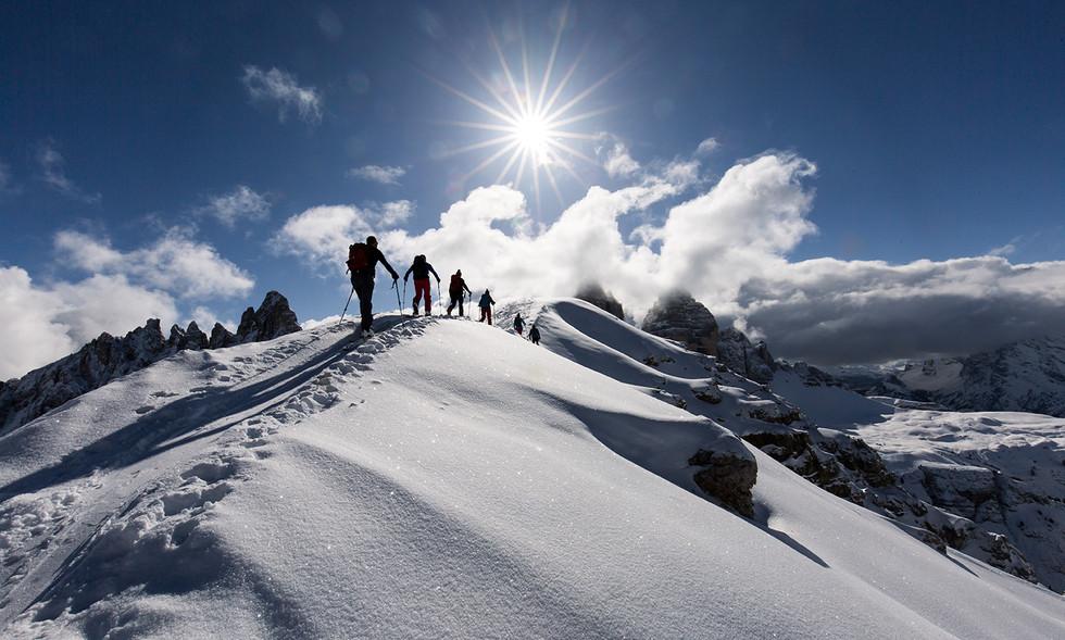 Skitourgeher am Sextner Stein