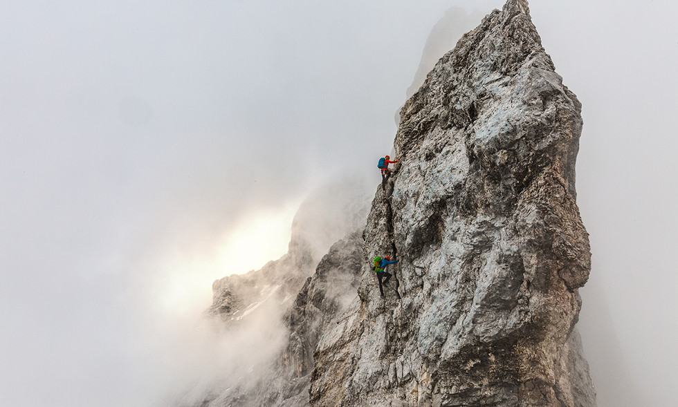 Kletterer auf dem Jubiläumsgrad