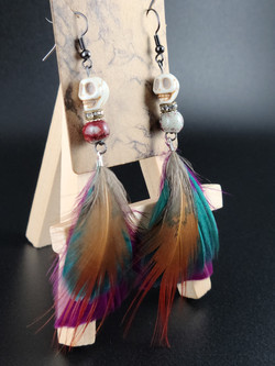 Skull and Feather earring by FD