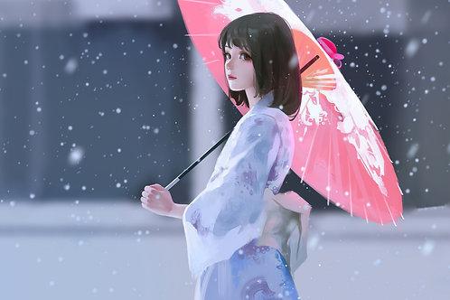Beautiful Anime Girl Kimono Umbrella Snowing