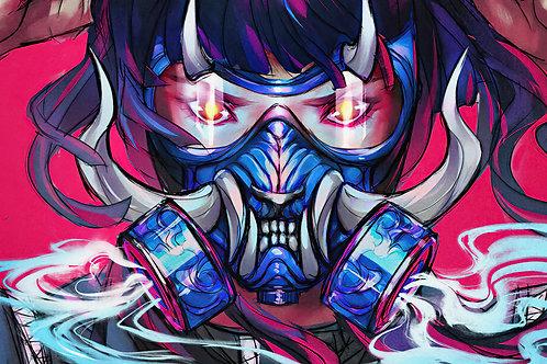Oni Gas Mask Smoke Anime Girl