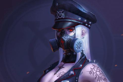 Cyberpunk Anime Girl Red Eye Gas Mask Sci-Fi