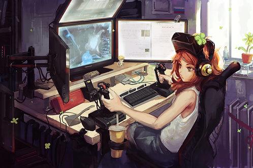Gamer Girl Anime Gaming Desktop Setup