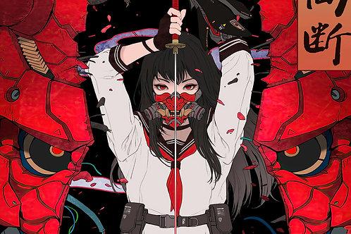 Samurai Anime High School Girl Katana Oni Mask