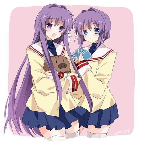 Fujibayashi Kyou Fujibayashi Ryou and Botan Clannad