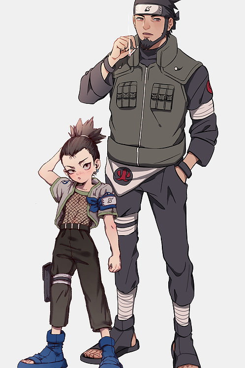 Nara Shikamaru and Sarutobi Asuma Naruto2