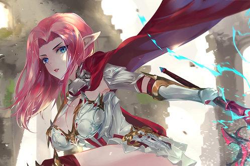 Anime Girl Fantasy Elf Warrior Pink Hair