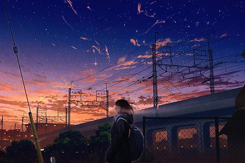 Anime Girl City Sunset Scenery