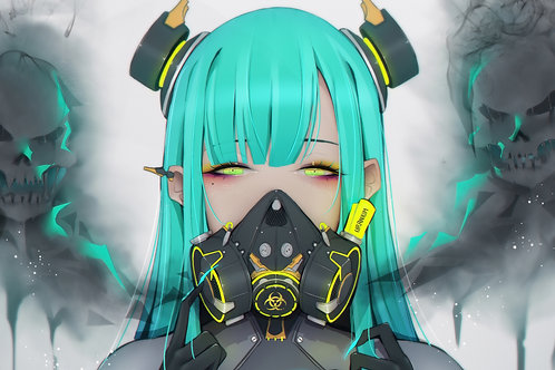 Anime Girl Toxic Gas Mask Sci-Fi