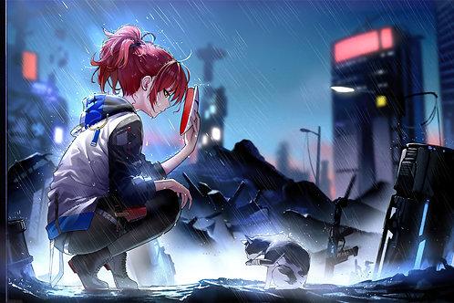 Anime Girl Cat Raining