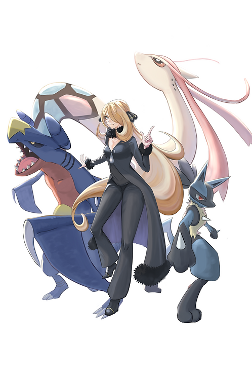 Cynthia Lucario Garchomp and Milotic Pokemon