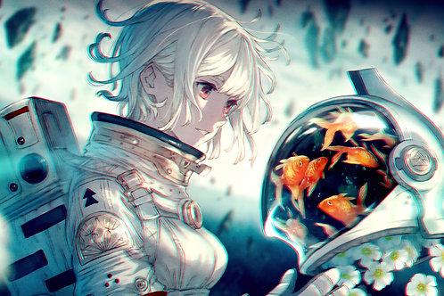 Anime Girl Astronaut Goldfish