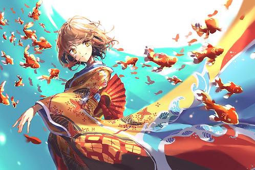Anime Girl Flying Goldfish