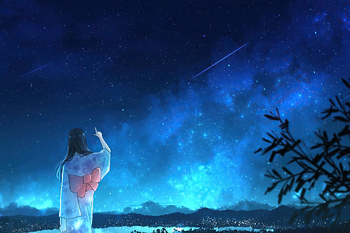 Anime Girl Kimono Night Sky Scenery 4K