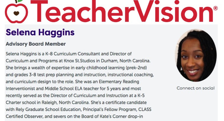 Director, Selena Haggins Joins Teacher Vision Advisory Board
