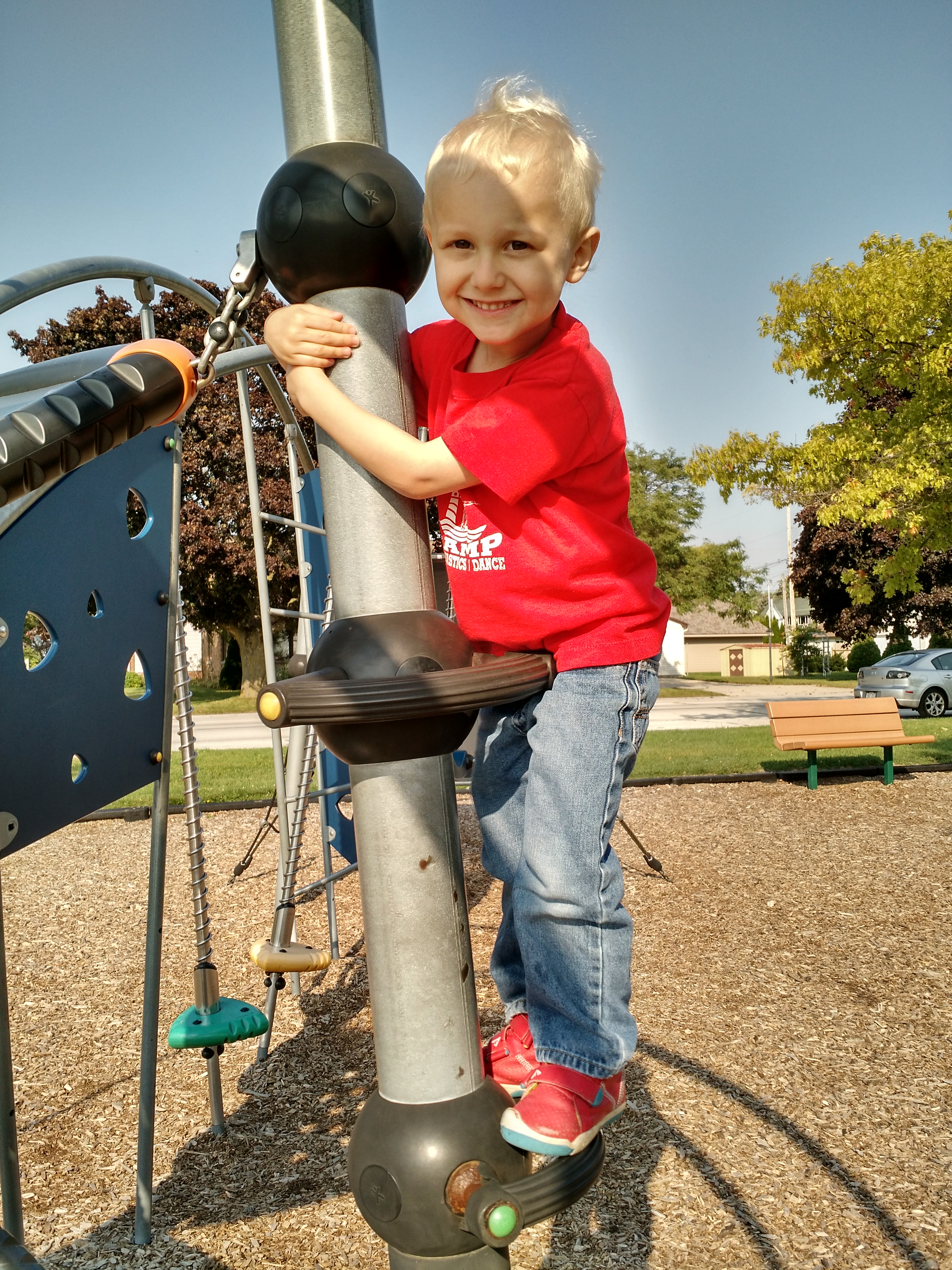 My son playing at a park