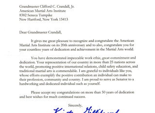 Letter of Recognition from United States Senator