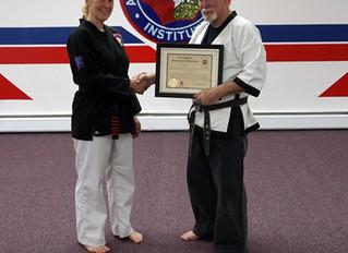 Grandmaster Shuey names Senior Canemaster, 8th Degree Black Belt