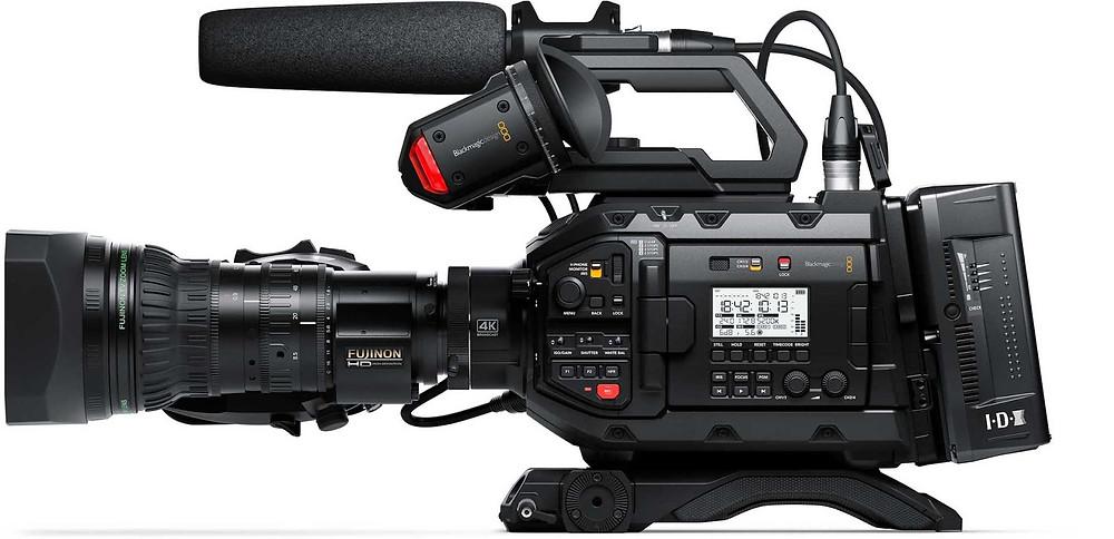 Side view of USRA Broadcast camera by Blackmagic Design