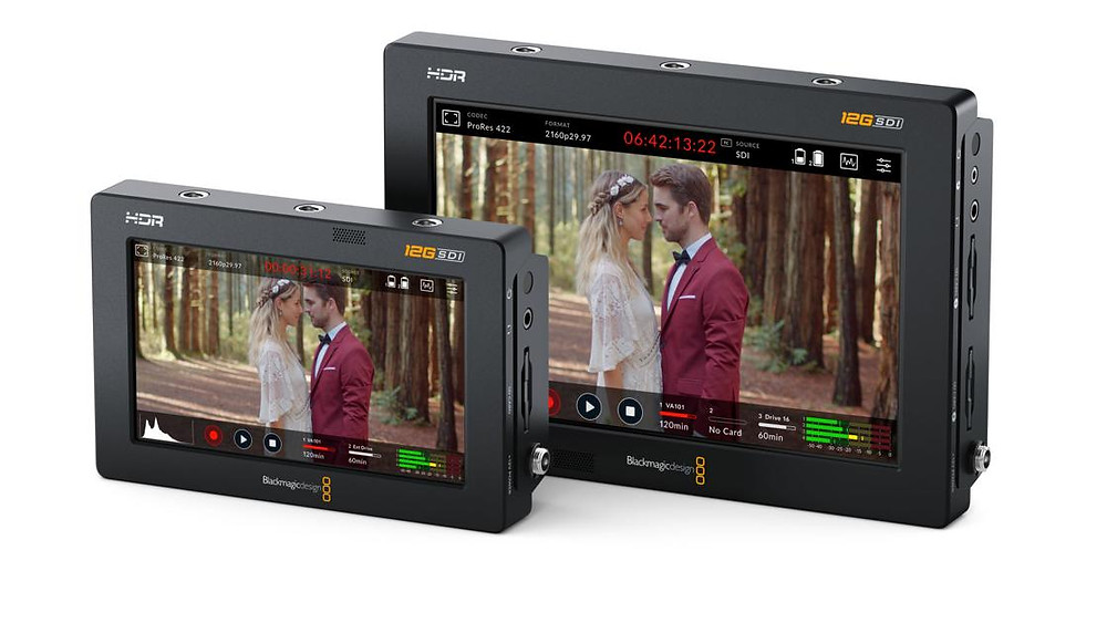 """Front view of 5"""" and 7"""" Video Assist 12G HDR video monitor and recorder from Blackmagic Design"""