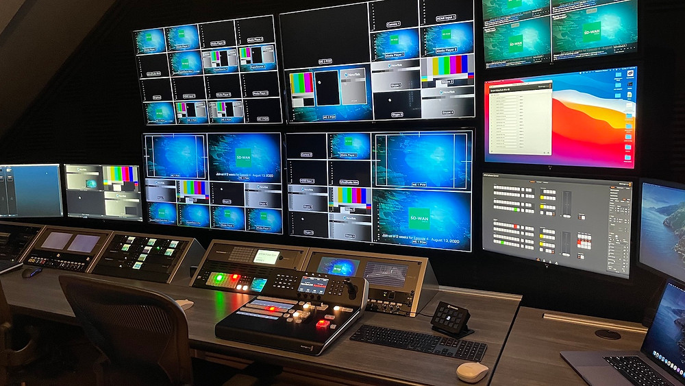 Photo of the insider of a television broadcasting control room