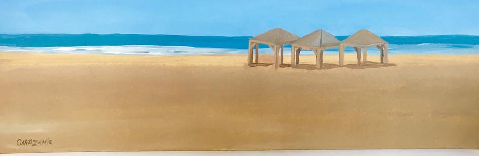 Long beach and huts