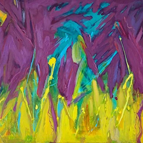 Alien Stroll, Oil/Acrylic on Canvas, 24 x 48