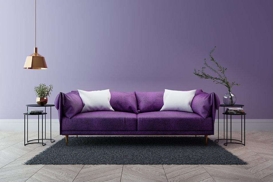 Image of modern purple sofa in front of purple wall with Robert Lombardi Flower Fine Art on Wall, The Lombardi Gallery, San Antonio Texas