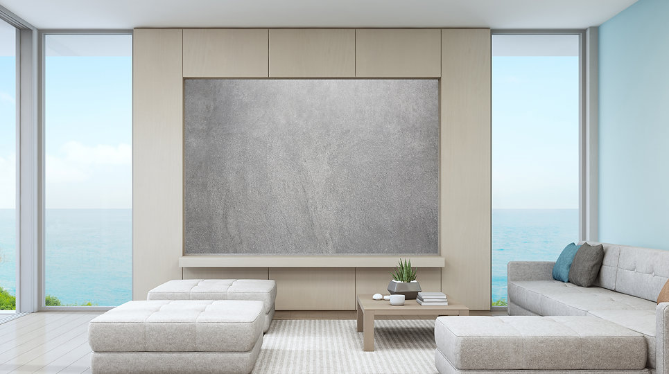 Minimalist living room with Landscape Wall Art by Robert Lombardi, The Lombardi Gallery, San Antonio Texas Fine Art