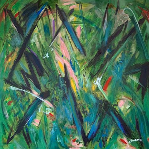 Jungle, Oil/Acrylic on Canvas, 36 x 36