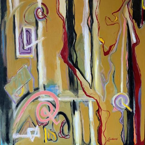 A Walk In My Garden #3, Oil/Acrylic on Canvas, 36 x36